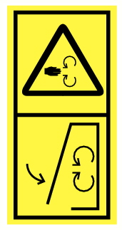 Danger entrainement par pièces en rotations