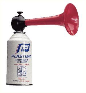 Avertisseur professionnel de type corne de brume, puissance de 112Db/2M, à cartouche de gaz ininflammable (incluse 1x)