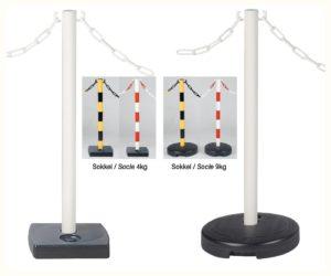 Poteau guide foule jaune/noir avec crochets pour chaîne, de 50 mm de diamètre et 900 mm haut avec socle à lester de 360 mm de diamètre, 9 kilos.