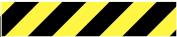Tape autocollant de 50 mm zèbré jaune/noir en rouleau de 33 mètres.