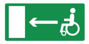 Direction sortie de secours invalides