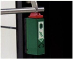 Boitier d'alarme d'ouverture de porte à barre anti-panique, avec pré-alarme, 75 Db remise à zéro par clef, alimentation par pile. Boitier en acier inoxydable.