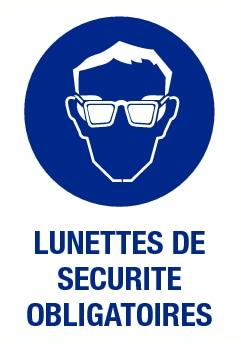 Lunettes de sécurité obligatoires