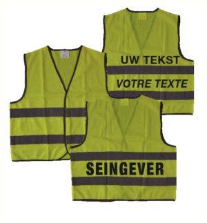 Chasuble 100% polyester, jaune fluo à fermeture type velcro, taille medium 60cm large sur 65cm haut. Agréée CE EN471