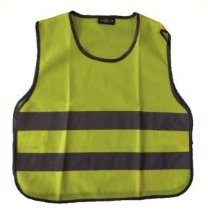 Chasuble 100% polyester pour enfant de 6 à 9 ans, jaune fluo à fermeture type velcro, taille 50cm large sur 53cm haut. Agréée CE EN1150