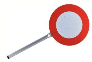 Panneau signaliseur 200 mm recto/verso rétroréfléchissant classe 1 avec votre texte souhaité.