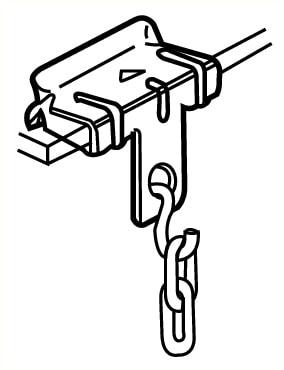 Agrafe pour suspension de pictogramme à une poutrelle, pour profil 14 à 20mm, charge maximum 90kg