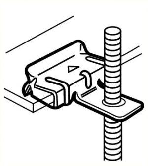 Agrafe pour suspension ou placement en drapeaux de pictogramme à une poutrelle, pour profil 8 à 14mm, charge maximum 15kg