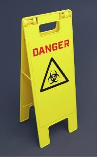 Balise de danger biologique à poser au sol de 240x620 mm